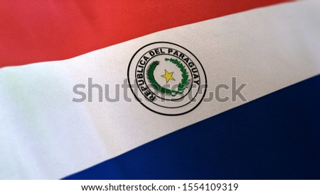 3D rendering of the national flag of Paraguay waving in the wind. The banner/emblem is made of realistic satin texture and rendered in a daylight situation.