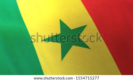 3D rendering of the national flag of Republic of Senegal waving in the wind. The banner/emblem is made of realistic satin texture and rendered in a daylight situation.