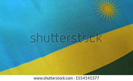 3D rendering of the national flag of Rwanda waving in the wind. The banner/emblem is made of realistic satin texture and rendered in a daylight situation.