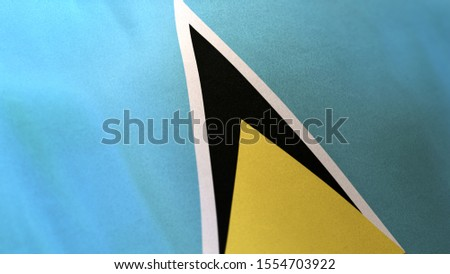 3D rendering of the national flag of Saint Luciawaving in the wind. The banner/emblem is made of realistic satin texture and rendered in a daylight situation.