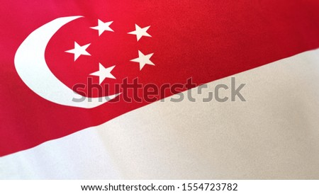 3D rendering of the national flag of Singapore waving in the wind. The banner/emblem is made of realistic satin texture and rendered in a daylight situation.