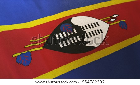 3D rendering of the national flag of Swaziland waving in the wind. The banner/emblem is made of realistic satin texture and rendered in a daylight situation.