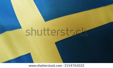 3D rendering of the national flag of Sweden waving in the wind. The banner/emblem is made of realistic satin texture and rendered in a daylight situation.