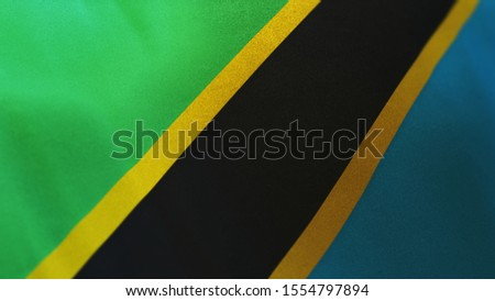 3D rendering of the national flag of Tanzania waving in the wind. The banner/emblem is made of realistic satin texture and rendered in a daylight situation.
