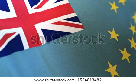 3D rendering of the national flag of Tuvalu waving in the wind. The banner/emblem is made of realistic satin texture and rendered in a daylight situation.
