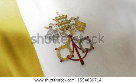 3D rendering of the national flag of Vatican City waving in the wind. The banner/emblem is made of realistic satin texture and rendered in a daylight situation.