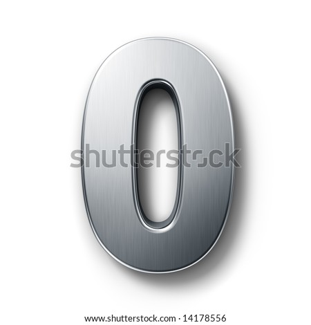 3d rendering of the number 0 in brushed metal on a white isolated background.