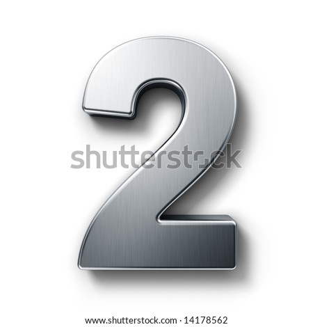 3d rendering of the number 2 in brushed metal on a white isolated background.