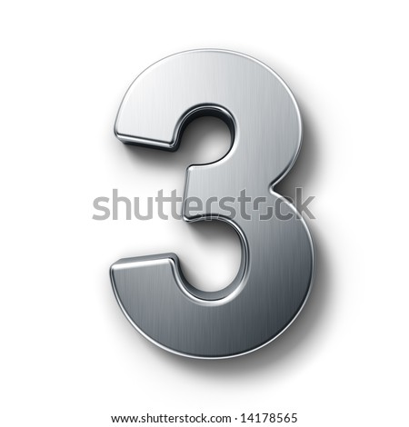3d rendering of the number 3 in brushed metal on a white isolated background.