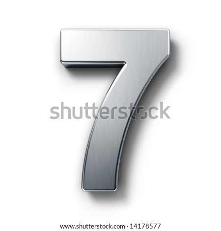 3d rendering of the number 7 in brushed metal on a white isolated