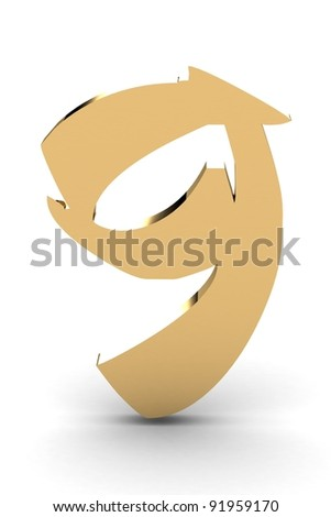 3d rendering of the number 9 in gold metal
