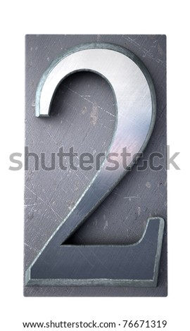 3D rendering of the number 2 in typescript print letter cases(part of a matching alphabet)