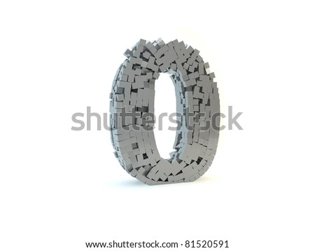 3d rendering of the number 0 made up of metal cubes on a white isolated background