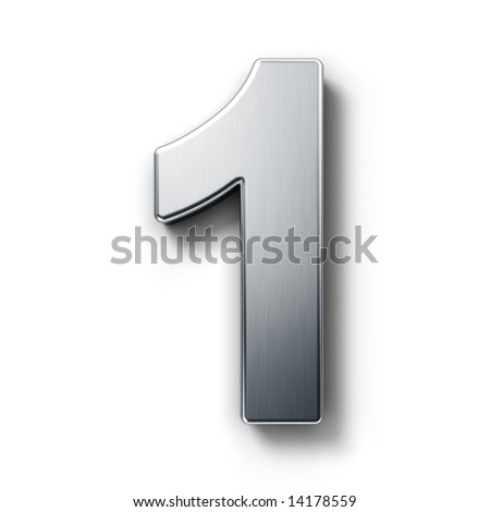 3d rendering of the number 1 on a white isolated background.