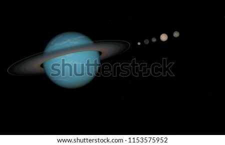 3d rendering of the planet uranus and moons in the space
