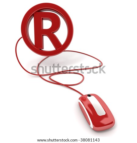 3D rendering of the registered mark symbol connected to a computer mouse - stock photo