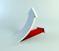 3d rendering of the rising arrow
