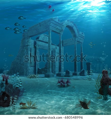 Stock Photo 3d rendering of the sunken ruins of an ancient Atlantis type civilization.