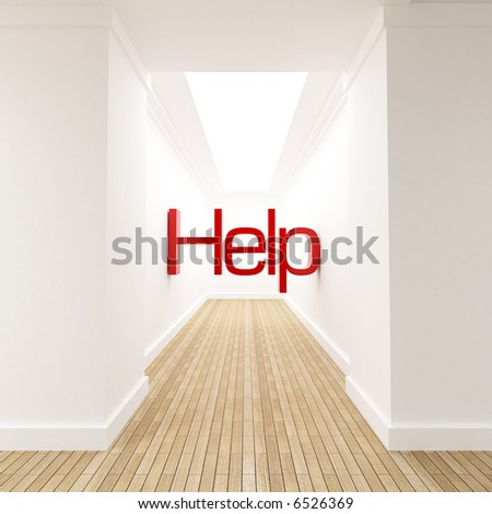 3D rendering of the word help in red letters at the end of blind corridor