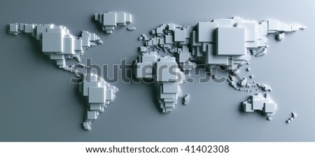 3d rendering of the world made out of blocks