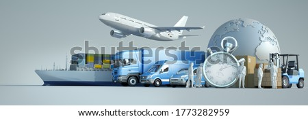 3D rendering of the world, packages and air, land and sea means of transport with a chronometer stock photo