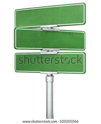 3d rendering of three blank signs stacked ontop of eachother