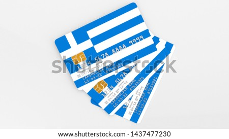 3D rendering of three credit cards with the flag of Greece on a light background