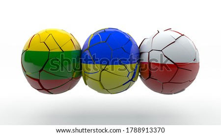 3D rendering of three destroyed spheres with flags of Lithuania, Poland and Ukraine. The idea of creating the Lublin triangle, its instability and instability of the political Union.