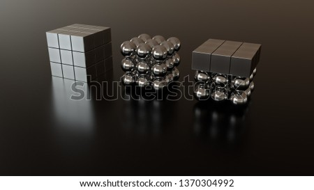 3D rendering of three figures: a cube, a cube of balls, a cube of cubes on the dark background