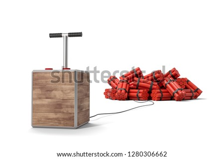 3d rendering of tnt dynamite sticks with detonator box isolated on white background. Digital art. Blasting machine. Plunger detonator.