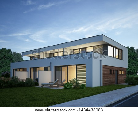 3d rendering of townhouses in the evening Сток-фото ©