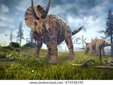 3D rendering of Triceratops horridus in Hell Creek about 67 million years ago.