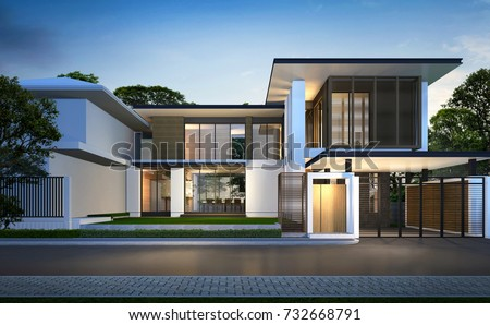 3D rendering of tropical house exterior isolated on white background ...