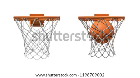 3d rendering of two basketball nets with orange hoops, one empty and one with a ball falling inside. Basketball score. Ball game. Empty and full hoop.