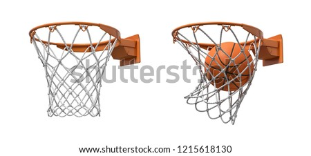 3d rendering of two basketball nets with orange hoops, one empty and one with a ball falling inside. Basketball score. Ball game. Empty and full hoop. Stock photo ©