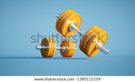 3D rendering of two dumbbells against a blue background