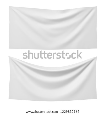 3d rendering of two white rectangle flags, one straight and another hanging down on a white background. Flags and symbolic. Political party accessories. Background for symbols.