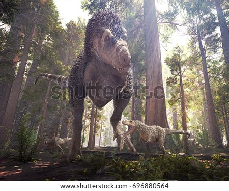 Stock Photo 3D rendering of Tyrannosaurus Rex walking with its young through Hell Creek 66 million years ago.