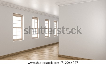 Shutterstock 3d rendering of Unfurnished Building Interior with Single Hung Windows