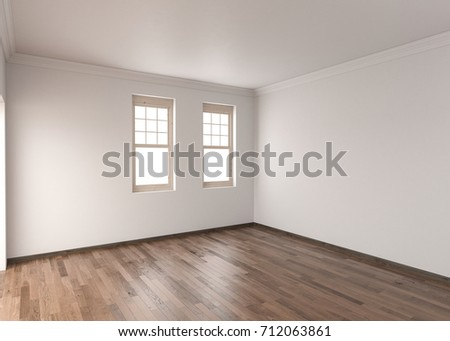Shutterstock 3d rendering of Unfurnished Room with Hardwood Flooring and Single Hung Windows