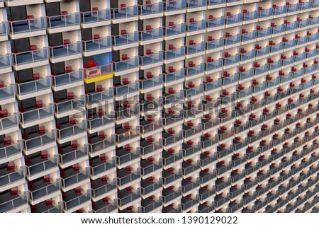 3D rendering of uniformed looking apartments in a huge and overcrowded apartment building with one customized different