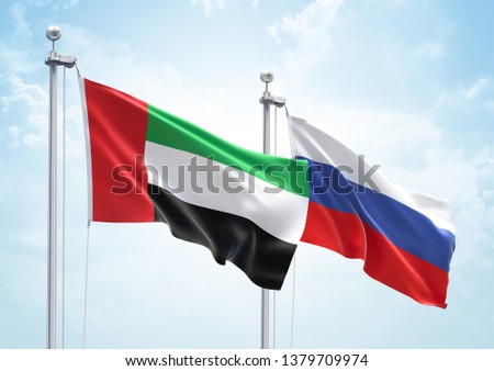 3D Rendering of United Arab Emirates & Russia Flags are Waving in the Sky - 3d illustration