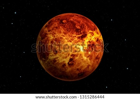 3d rendering of Venus planet with deep space background. Surface texture furnished by NASA.