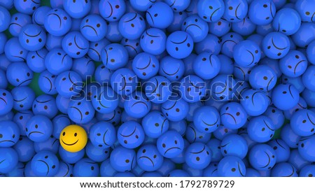 3D rendering of wallpaper. Views of pile of smiling yellow, gray and blue plastic balls Stockfoto ©