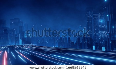 3D Rendering of warp speed in hyper loop with blur light from buildings' lights in mega city at night. Concept of next generation technology, fin tech, big data, 5g fast network, machine learning Foto stock ©