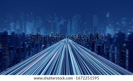 3D Rendering of warp speed in hyper loop with blur light from buildings' lights in mega city at night. Concept of next generation technology, fin tech, big data, 5g fast network, machine learning Stockfoto ©
