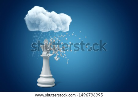 3d rendering of white chess king standing under raining cloud, upper part of chesspiece dissolving in particles, on blue copyspace background. Visualize ideas. Transform things. Handle problems.