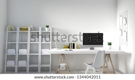 3d rendering of White clean home office and working space. Side view of Home office space consists of book shelf, book, computer, desk and chair, and a desk lamp. #1344042011