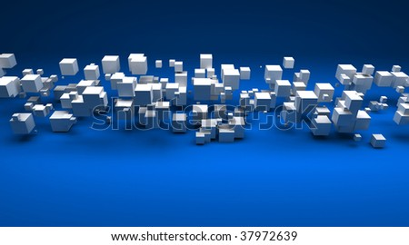 Stock Photo 3D rendering of white cubic particles against a blue background