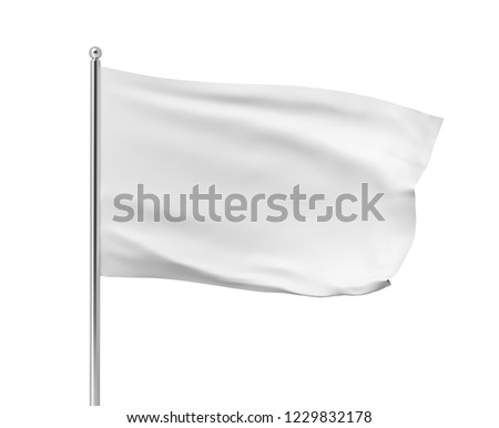 3d rendering of white flag hanging on post and wavering on a white background. Throwing white flag. Symbol of freedom. Surrender and giving up. #1229832178